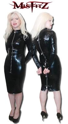 latex padlock straitjacket dress