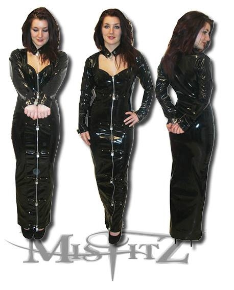 PVC PADLOCK SWEETHEART HOBBLE STRAIT JACKET DRESS