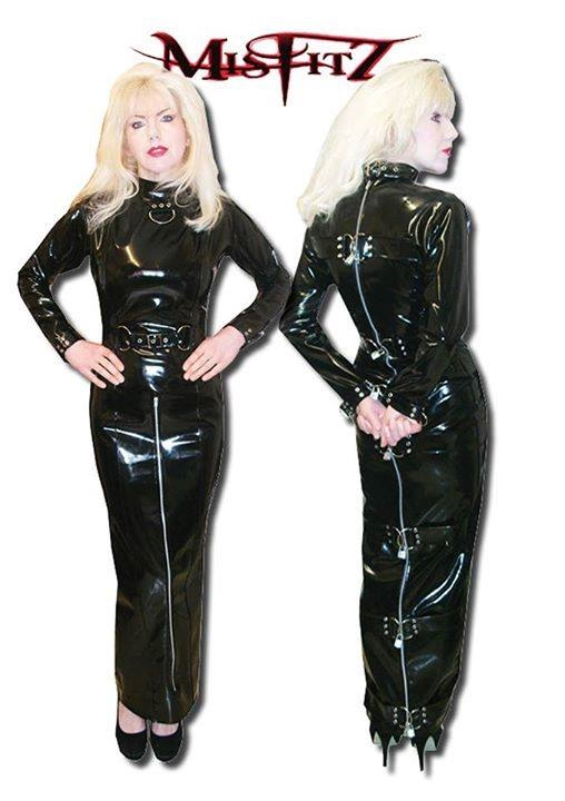 PVC D-RING STRAIT JACKET HOBBLE DRESS