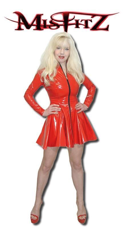 Red pvc skater dress