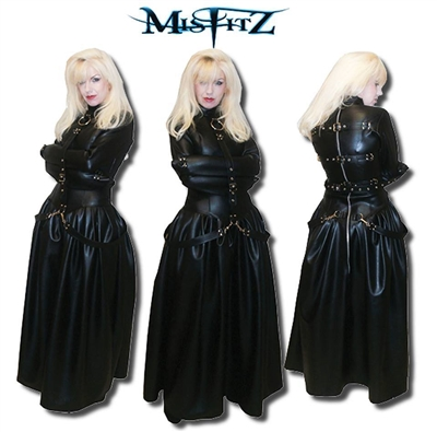 Faux Leather Buckle Restraint Ballgown