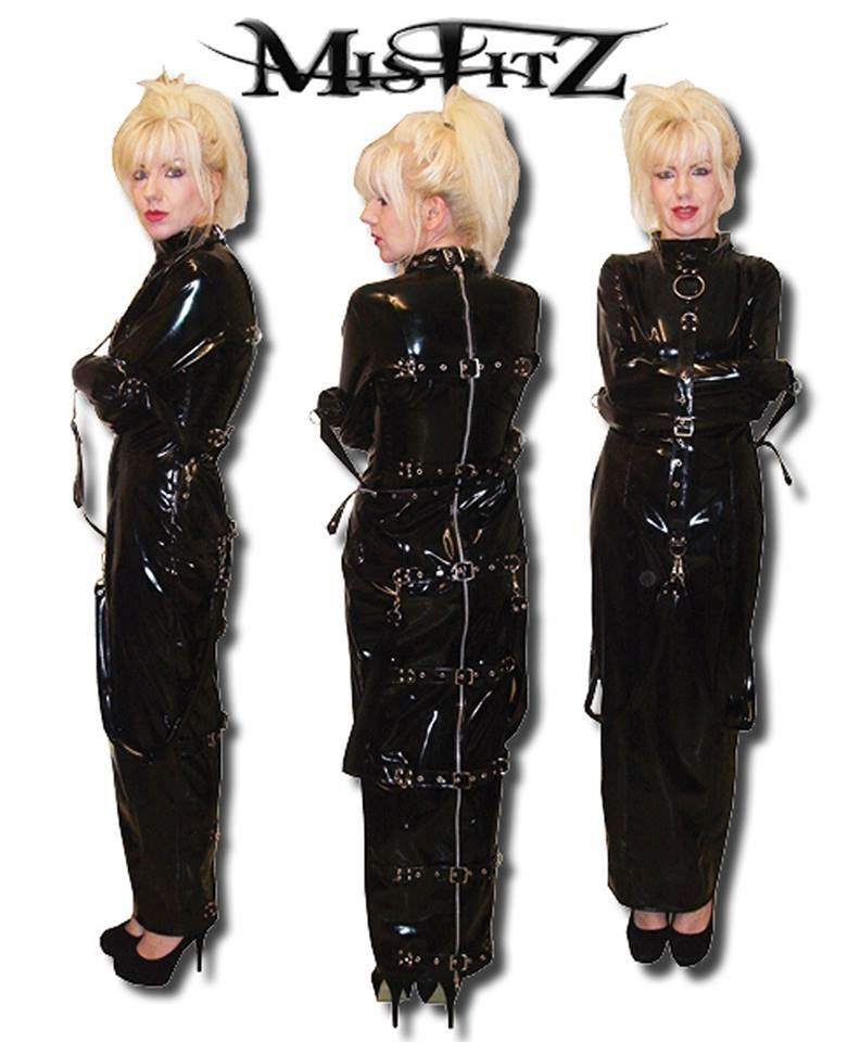PVC HOBBLE BUCKLE STRAIT JACKET DRESS