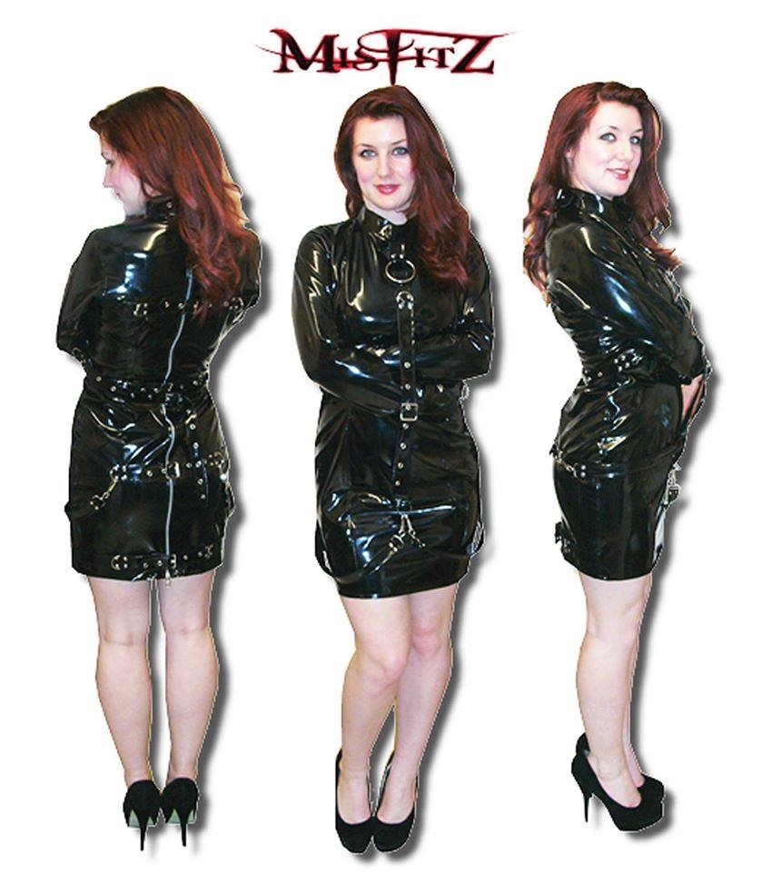 BLACK PVC BUCKLE STRAIT JACKET DRESS