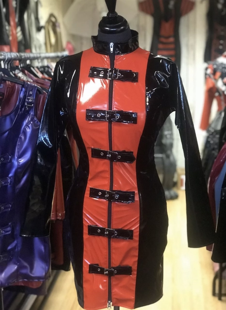 black and red pvc buckle barbarella dress