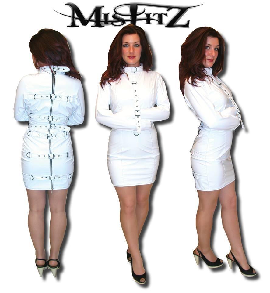 WHITE PVC STRAIT JACKET DRESS