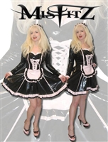 BLACK AND BABY PINK PVC SWEETHEART MAIDS DRESS