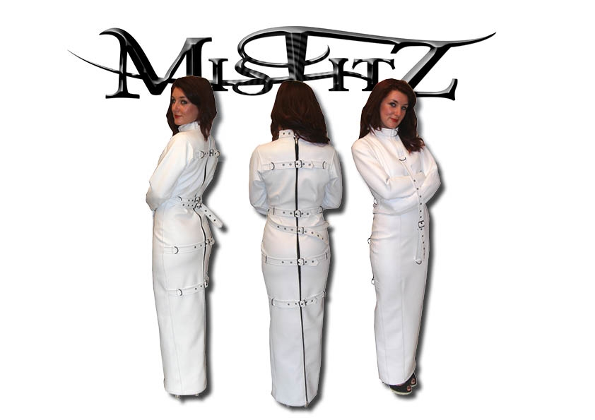MISFITZ WHITE LEATHER LOOK HOBBLE STRAIT JACKET DRESS