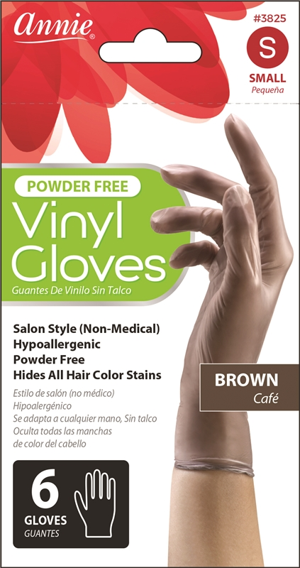 Annie Vinyl Gloves, 6Ct in Brown
