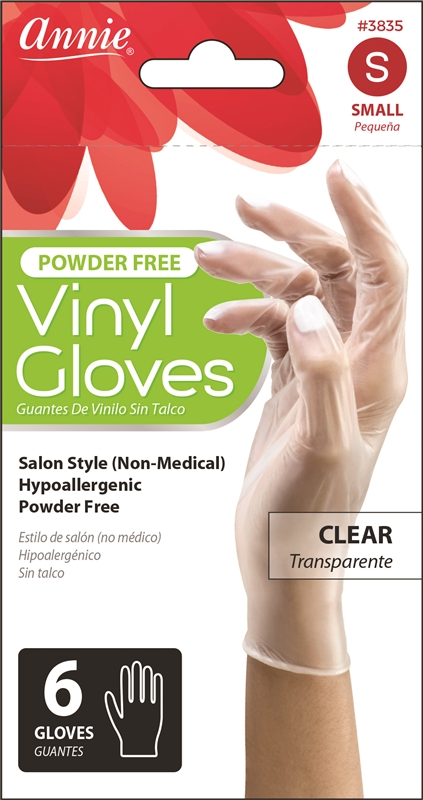 Annie Vinyl Gloves Powder Free, 6Ct