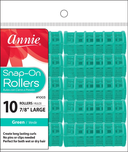 Annie Snap-On Rollers Size L 10ct Green