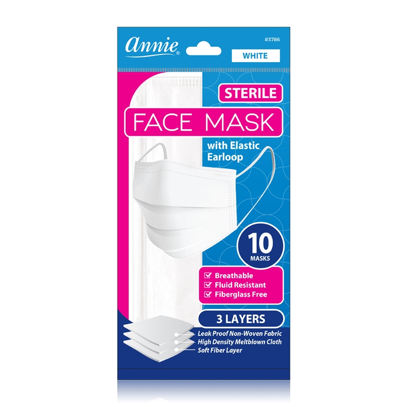 Annie Sterile Earloop Face Mask One Size 10ct White