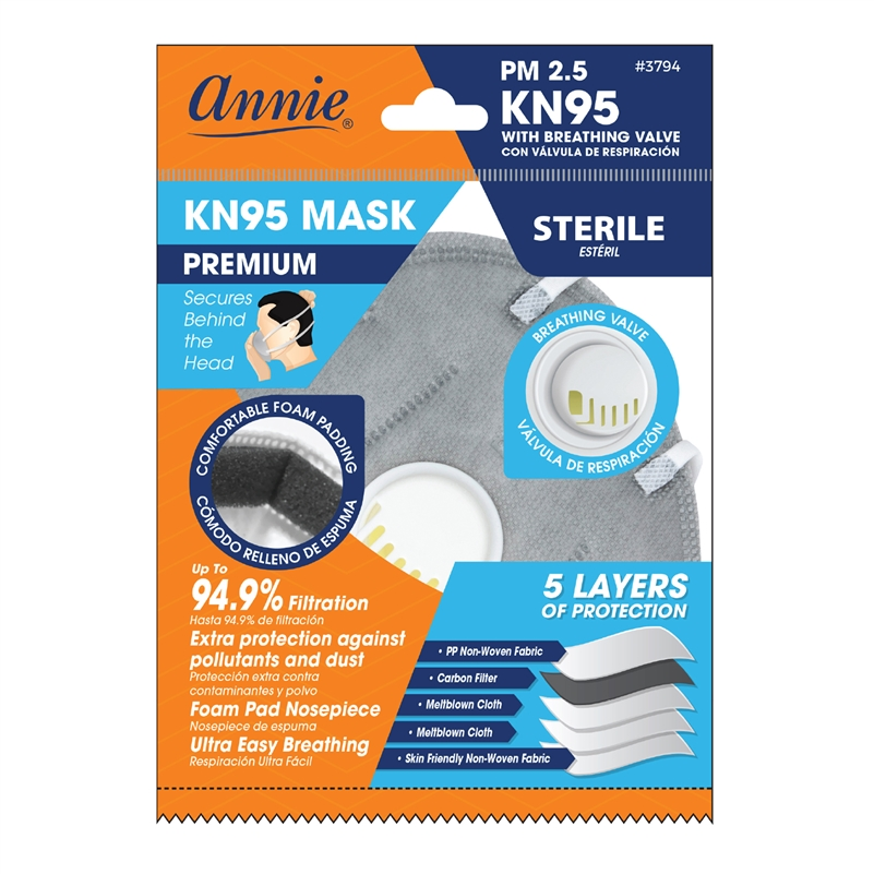 Annie KN95 3D Mask with Breathing Valve & Carbon in Gray