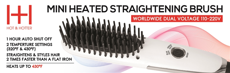 Hot & Hotter Mini Heated Straightening Brush, White