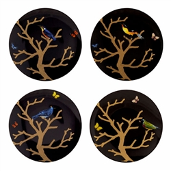 Bernardaud Aux Oiseaux Assorted Plates Ebony Set Of 4