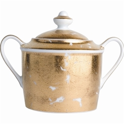 Bernardaud Gold Leaf Sugar Bowl & Lid
