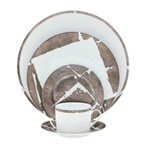 Bernardaud Silver Leaf 5 Piece Place Setting Round