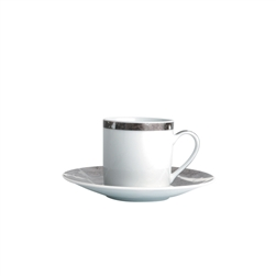 Bernardaud Silver Leaf After Dinner Coffee Cup Luna 5oz.