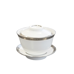 Bernardaud Athena Platinum Small Covered Cup & Saucer