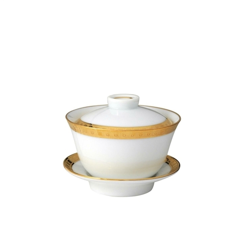 Bernardaud Athena Gold Small Covered Cup & Saucer