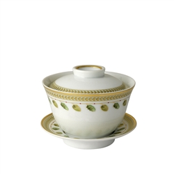 Bernardaud Constance Green Small Covered Cup & Saucer