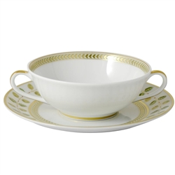 Bernardaud Constance Green Cream Soup Cup & Saucer