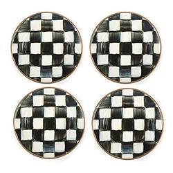 Mackenzie-Childs Courtly Check Enamel Canape Plates - Set of 4