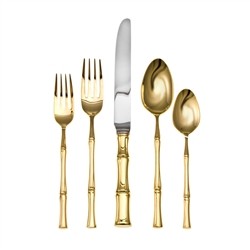 Ricci Argentieri Bamboo D'oro 20Pc. Flatware Set Service for 4