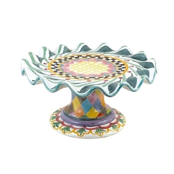 MacKenzie-Childs Taylor Odd Fellows Fluted Cake Stand