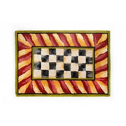 Mackenzie-Childs Courtly Check Rug - Red & Gold - 3 ft. x 5 ft.