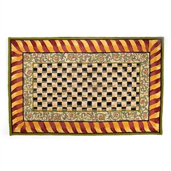 Mackenzie-Childs Courtly Check Rug - Red & Gold - 5 ft.  x 8 ft.