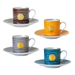 Bernardaud Aboro After Dinner Cup & Saucer Set of 4