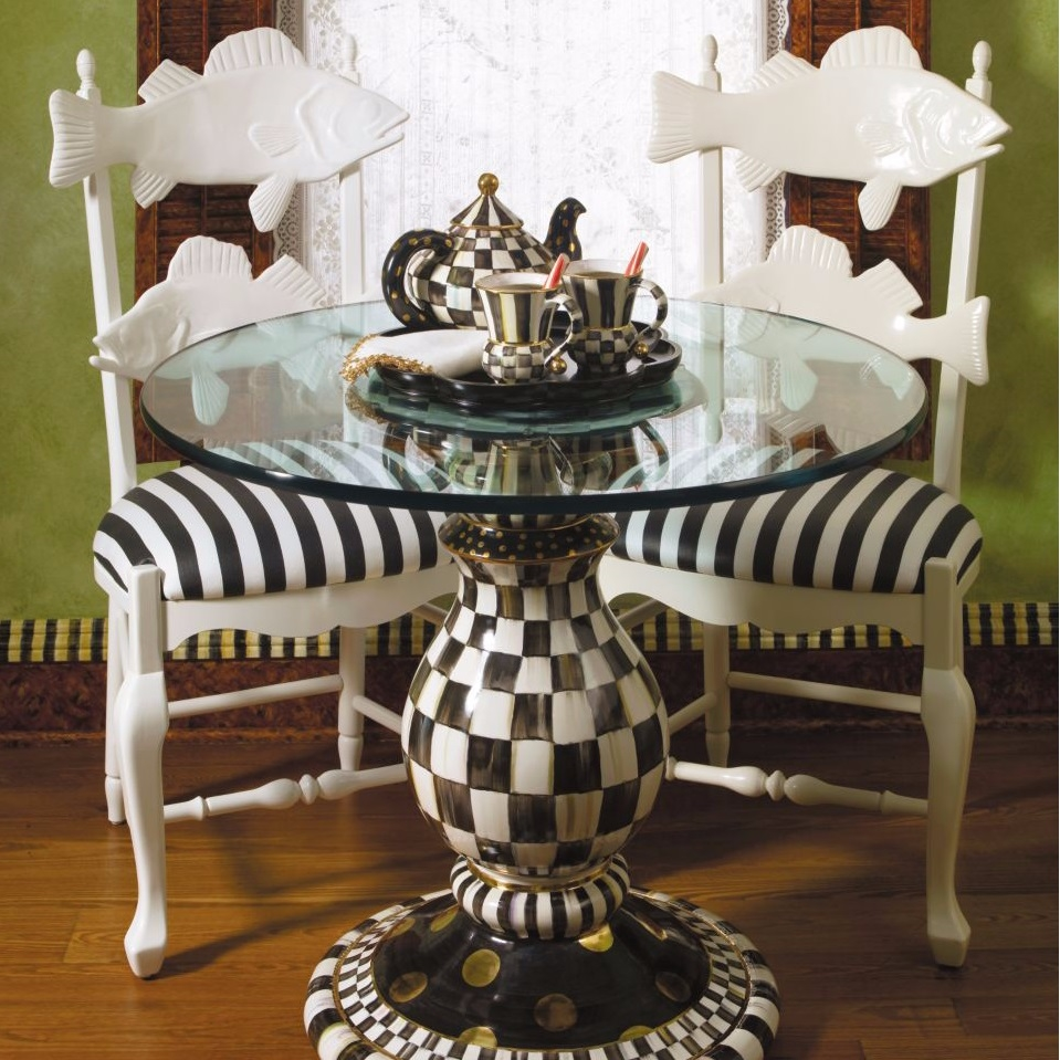 Mackenzie Childs Pedestal Table Base In Courtly Check