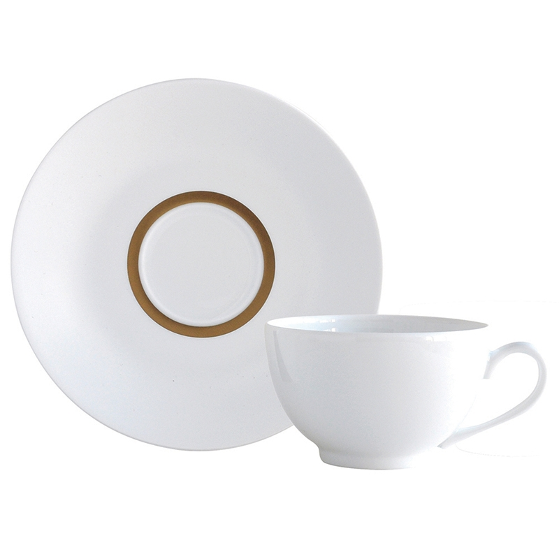 Bernardaud Limoges Cronos Gold Tea Cup Gold Boule Shape
