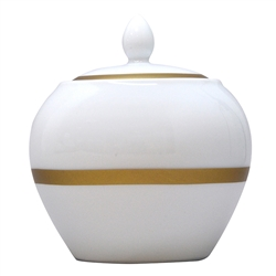 Bernardaud Limoges Cronos Gold Sugar Bowl Boule Shape