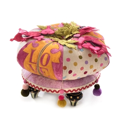 Mackenzie-Childs Bleeding Hearts Footstool
