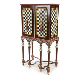 MacKenzie-Childs Foxtrot Bar Cabinet