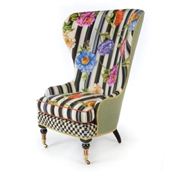 MacKenzie-Childs Cutting Garden High Back Wing Chair