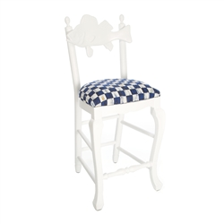 Mackenzie-Childs Outdoor Fish Bar Stool - Royal Check