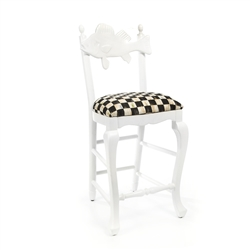 Mackenzie-Childs Outdoor Fish Bar Stool - Courtly Check