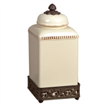 The GG Collection Cream Acanthus Leaf Canister, Large