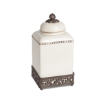 The GG Collection Cream Acanthus Leaf Canister, Medium