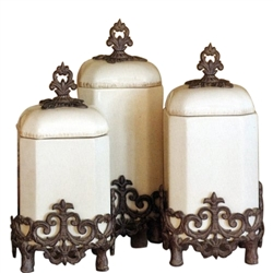 The GG Collection Provencial Cream Canisters, Set of 3