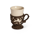The GG Collection 9oz. Cups w/Holder, Set/4 - Cream
