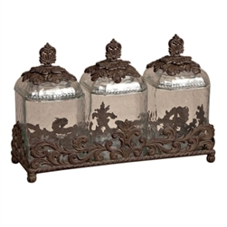 The GG Collection 3pc Glass Canisters w/Brown Metal