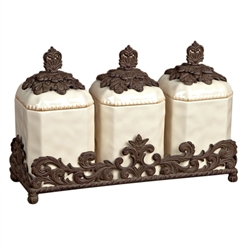 The GG Collection 3 Piece Textured Ceramic Canisters w/Base-Cream