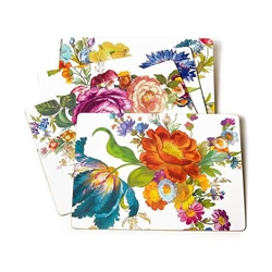 Mackenzie-Childs White Flower Market Placemat Set Of 4