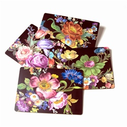 Mackenzie-Childs Black Flower Market Placemat Set Of 4