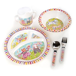 Mackenzie-Childs Toddler's Dinnerware Set - Bow Wow Meow