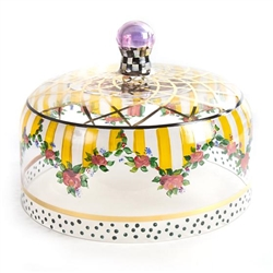 MacKenzie-Childs Striped Awning Hand-Painted Glass Cake Dome