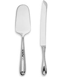 Ricci Argentieri Florence Polished Hammered 2-Piece Cake Set - Server & Knife